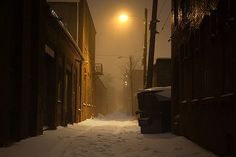 snow covered alley