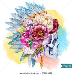 war bonnet, watercolor, skull, boho, Indian, feathers, flowers