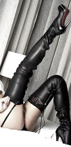 Thigh high stilettos in bed are the ultimate fuck me boots!