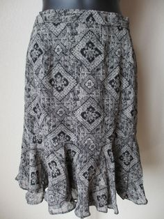 Vintage Anne Klein Skirt Beige Black Sheer Size 4Fully Lined Made in USA