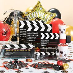 All the best of the best invitations, party supplies and decor for Hollywood Nights Movie Theme Party Celebrations. Hollywood Birthday Parties, Hollywood Theme, Hollywood Decorations, Hollywood Glamour, Party Themes, Party Ideas, Theme Parties, Bbq Ideas, Kid Parties