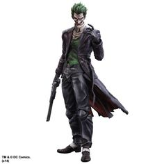 The grim tint to the paintwork accentuates his sinister aura. Some parts of this figure such as his coat and shirt incorporate flexible material. In addition, his coattails are articulated. We have achieved a wider range of motion, allowing for versatile posing. Along with his weapons, a knife and a gun, highly-detailed accessories that bring out the eerie atmosphere of The Joker are also included, such as an interchangeable head with a different facial expression