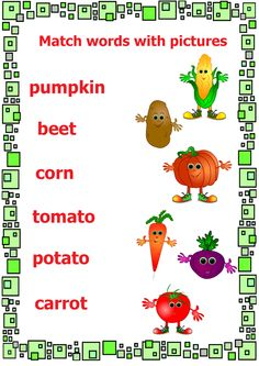 vegetables worksheet#match pictures and words#early english learning