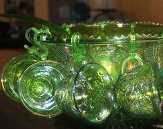 Carnival Glass   Carnival Glass Punch Bowl Princess Set in Carnival Green