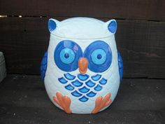 Whooo Loves Owls - Large Modern Ceramic Owl Cookie Jar - Handpainted White with Candy Rainbow Colors Green Wing, Aqua Blue, Pink, Illustration Art, Illustrations, Ceramic Owl, Pottery Designs, Owl Art, Modern Ceramics