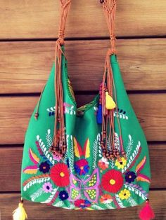 Mexican embroidered bag handmade unique piece by PureLoveMex Mexican Embroidery, Floral Embroidery, Hand Embroidery, Diy Hacks, Mexican Outfit, Embroidered Bag, Boho Bags, Craft Bags, Casual Bags
