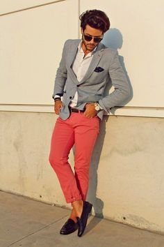 Men's Grey Blazer, White Dress Shirt, Pink Chinos, Dark Purple Leather Tassel Loafers