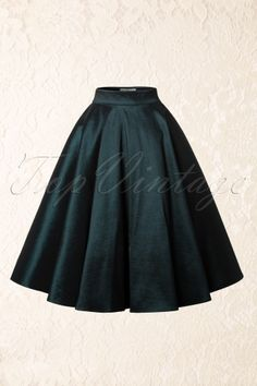 50s Bella Occasion Swing Skirt Green - Collectif Clothing