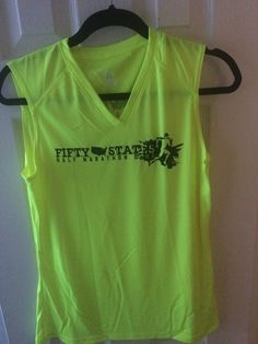 Fifty States Half Marathon Club LLC - Sleeveless V-neck LADIES Badger technical shirt Safety Yellow, $32.95 (http://halfmarathonclub.mybigcommerce.com/sleeveless-v-neck-ladies-badger-technical-shirt-safety-yellow/)