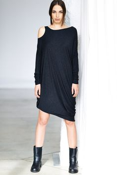 NEW/ Black Melange Drape Dress/ Loose Casual Black Tunic/ Drape Top/ Long Sleeves Tunic Top by Arya Sense