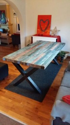 Woods table with steel frame