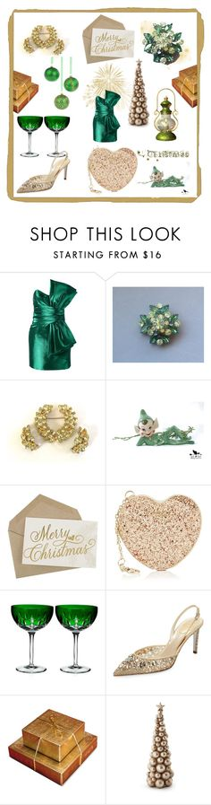 """""""A Green & Gold Christmas"""" by lizzysbibsandbobs ❤ liked on Polyvore featuring interior, interiors, interior design, home, home decor, interior decorating, Yves Saint Laurent, Christian Dior, Furla and Waterford"""
