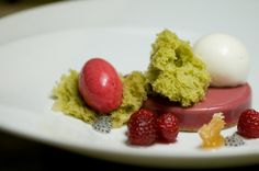 Recipe for Raspberry Crème, Cinnamon Sablé and Green Tea Sponge from Pastry Chef Ron Paprocki of Gordon Ramsay at the London on StarChefs.com