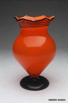 Wiener Werkstätte Orange Loetz Vase by Michael Powolny, Bohemia. Circa 1910.