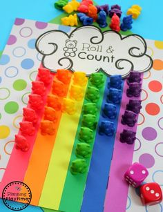Preschool Rainbow Theme Activities - Rainbow Roll and Count Spring Math Fun. Rainbow Crafts Preschool, Rainbow Activities, Preschool Themes, Spring Activities, Color Activities, Preschool Activities, Flower Craft Preschool, Spring Preschool Theme, Preschool Color Theme