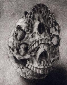 "Macabre Skull Print Gothic Horror Creepy Spooky  Dark Hand Pulled Intaglio Fine Art Drypoint ""Three Nose Holes"""