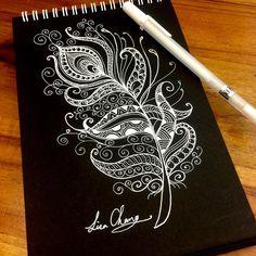 Tattoo Quotes Lati - Best x Pin Tattoo Photo Black Paper Drawing, Doodle Art Drawing, Zentangle Drawings, Mandala Drawing, Pencil Art Drawings, Zentangle Patterns, Zentangles, Feather Drawing, Feather Art