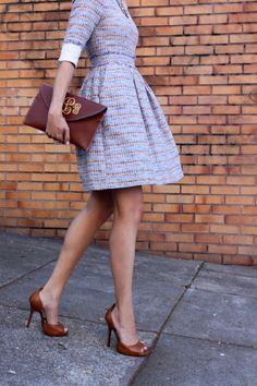 HM dress: tweed: Monogram: Preppy: Purple dress: Steve Madden shoes