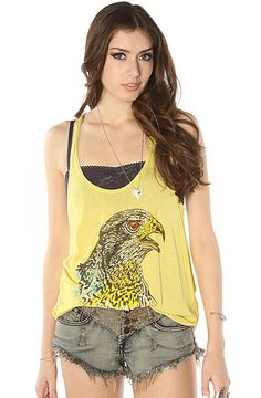 Obey Shirt Owl Graphic Tank Top Yellow : MissKL.com - Cutting Edge Women's Fashion, Accessories and Shoes.