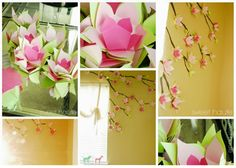 Paper Cherry Blossom Tutorial and Template - These beautiful paper flowers make a lovely accent wall decoration.