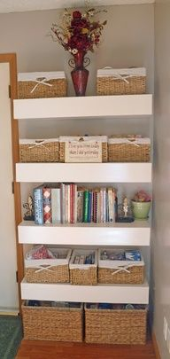 Small Space Storage Solution - i could do this in the dining room, on the small walls separating living room.