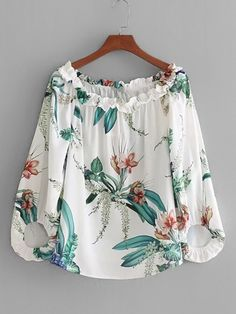 White Print Floral Shirt Blouse Off Shoulder With Sleeve Slash Neck Spring Summer Girls Beach Wear Tops Blusa Floral Print Shirt, Printed Blouse, Blouse Styles, Blouse Designs, Look Fashion, Girl Fashion, Fashion Casual, Casual Dresses, Fashion Dresses
