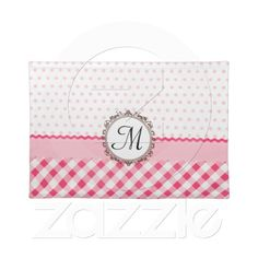 Pink Polkadots, Checks and Stripes with Monogram placemats