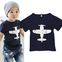 Kids Short Sleeved T-Shirt - Blue || We love the simple design of this Tee with its plane motif. Lovely paired with jeans for a cool look.   Perfect for kids that love planes!