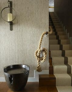 Fab detail. Thom Filicia - not sure what I love more ...that rope or the perfect placement of the middle stripe on the runner