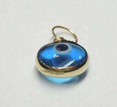 Vintage 14Kt Gold Blue Evil Eye Pendant Charm