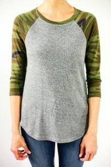fea23ba338 Retro style camouflage baseball tee in a super soft jersey. Perfect for  those casual fall