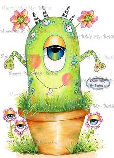 Cute Monsters Drawings, Cartoon Monsters, Cool Drawings, Doodle Monster, Monster Drawing, Mini Monster, Face Painting Designs, Happy Paintings, Digi Stamps