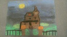 Pastel value halloween drawing