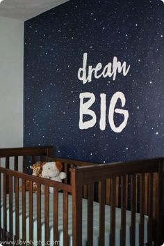 Vintage Modern Navy and Gray Nursery Make a big statement in the nursery with a simple painted wall - a starry night mural and a favorite phrase make an awesome focal wall. Source by craf. Baby Bedroom, Baby Boy Rooms, Baby Boy Nurseries, Nursery Room, Kids Bedroom, Nursery Decor, Nursery Ideas, Navy Nursery, Themed Nursery
