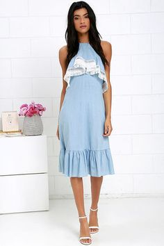 Daydream Come True Light Blue Chambray Midi Dress at Lulus.com!