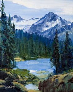 "This 14"" X 11"" original landscape oil painting on canvas, ""Hiking Trail To Whistler Mountain In Whistler, B.C."" by Warren Keating,"