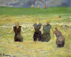Women Bathing, Dieppe, 1886  Paul Gauguin