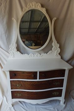 Antique Dresser with Swing Mirror by SharonsSecondChance on Etsy