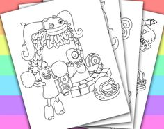 DIGITAL - INSTANT DOWNLOAD PRINTABLE COLORING PAGE This listing give you a series of 4 printable coloring pages of MY SINGING MONSTERS. You can use these coloring pages for your children's birthday party, or a small party in the classroom if y...