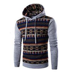 2017 Hoodies Mens Hombre Hip Hop Male Brand Hoodie Fashion Geometric Print Sweatshirt Suit Men Slim Fit Men Hoody XXL EYRV