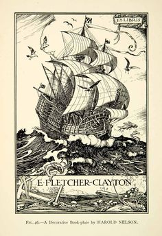 Bookplate by Harold Nelson for E Fletcher-Clayton, 1927