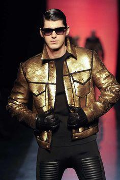 monsieurcouture: Jean Paul Gaultier F/W 2011 Menswear Suit Fashion, Leather Fashion, Runway Fashion, High Fashion, Fashion Looks, Fasion, Mens Fashion, Fashion Outfits, Fashion Designer
