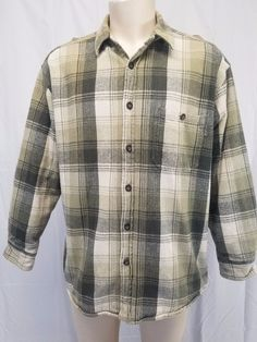 c1e25a7e53a WOOLRICH 100% Cotton Olive Green & Beige Plaid Fleece Lined Flannel  Shirt Mens L