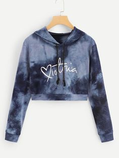 Sexy Grey Tie Dye Drawstring Short Hooded Sweatshirt can show the feminine elegance well, get best women Hoodies & Sweatshirts online. Girls Fashion Clothes, Teen Fashion Outfits, Mode Outfits, Outfits For Teens, Girl Outfits, Trendy Clothing, Men Fashion, Fashion Ideas, Cute Lazy Outfits