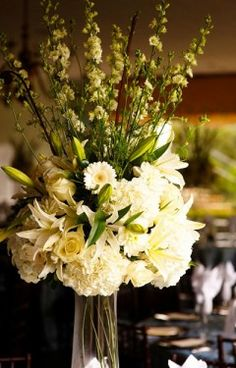 Elegant White and Green Tall Centerpiece