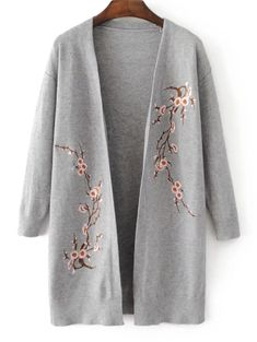 Sweaters & Cardigan For Women Long Knit Cardigan, Sweater Cardigan, Cardigans For Women, Jackets For Women, Iranian Women Fashion, Embroidery Fashion, Floral Embroidery, Embroidered Clothes, Cardigan Fashion