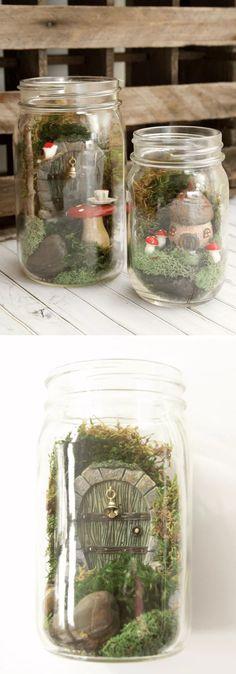 Simple mason jar fairy garden | Creative Mason Jar Fairy Garden Ideas . FarmFoodFamily