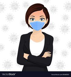 Woman use face mask disposable medical surgical vector image on VectorStock Art Drawings For Kids, Cartoon Drawings, Art For Kids, Emoji Mask, Preschool Decor, Protective Mask, Masks Art, Beautiful Mask, Diy Mask