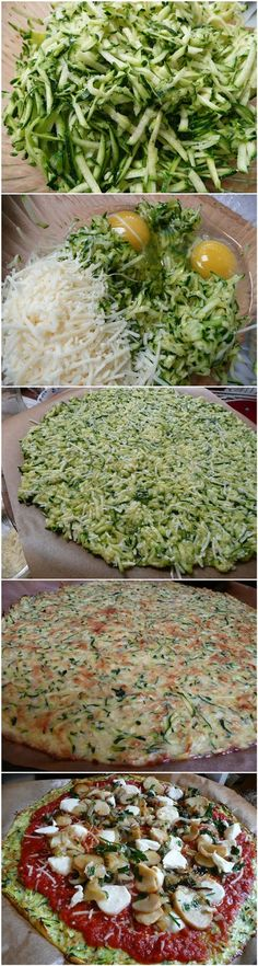 Zucchini Crust Pizza:1 large egg or 2 small ones About 3 small-medium zucchinis (mine were about 8″) 1.5 cups grated parmesan or mozzarella.  I liked parmesan best for this one. salt