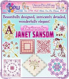Shop machine embroidery from Designs by Janet Sansom!